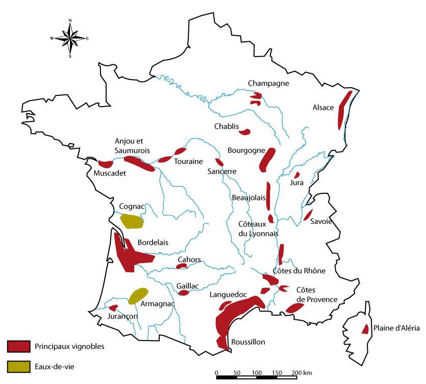 Carte des vignobles Français - Achat vins